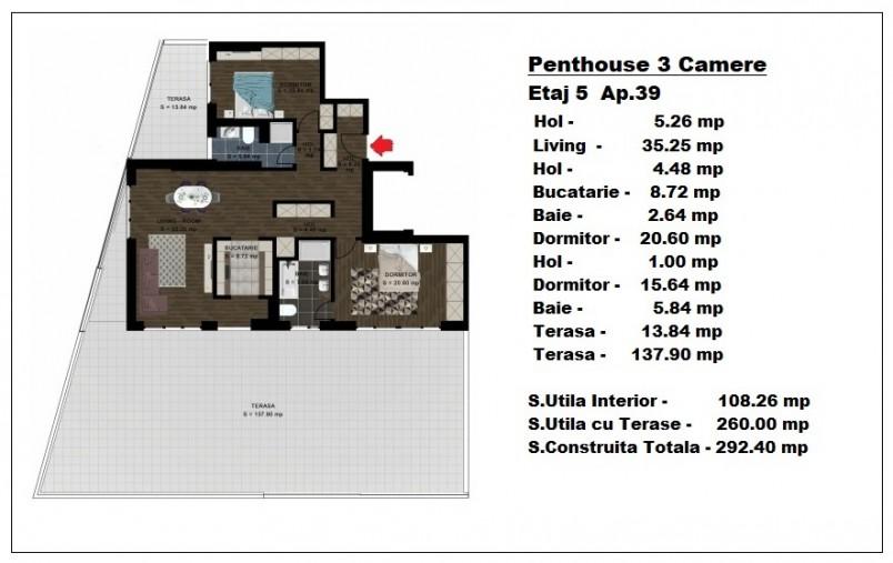 Penthouse 3 camere - ap 39/etaj 5, 108 mp, Atlas Park Condominium