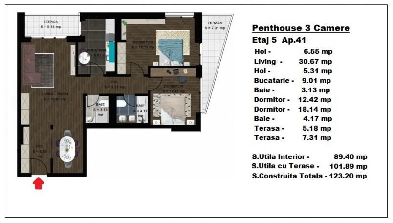Penthouse 3 camere - ap 41/etaj 5, 89,40 mp, Atlas Park Condominium