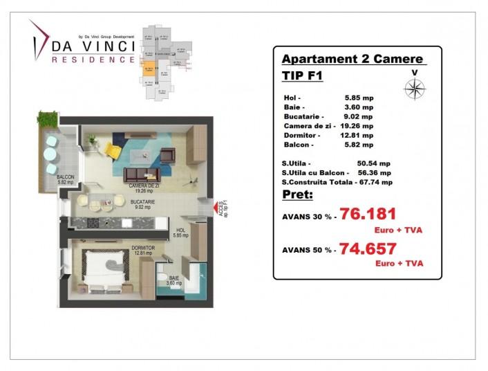 Apartament 2 camere - TIP F1, 50.54 mp, Da Vinci Văcărești