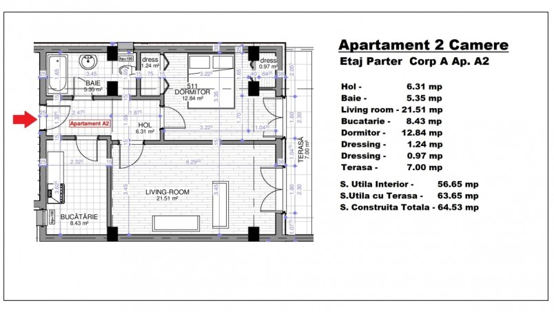 Apartament 2 camere - ap.A2/parter, 56.65 mp, Calusei Residence