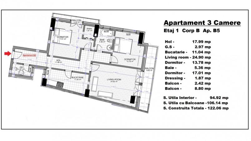 Apartament 3 camere - ap B5/etaj 1, 94.92 mp, Calusei Residence