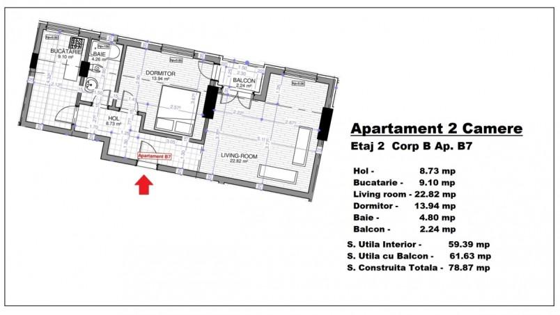 Apartament 2 camere - B7/etaj 2, 59.39 mp, Calusei Residence
