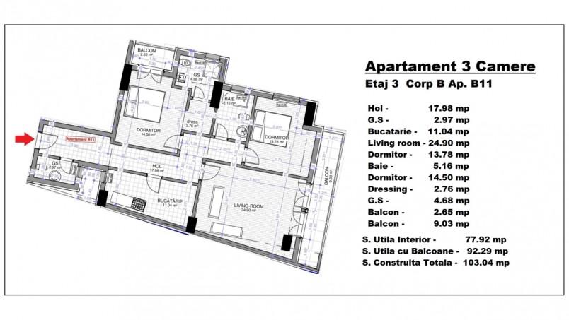 Apartament 3 camere - B11/etaj 3, 77.92 mp, Calusei Residence