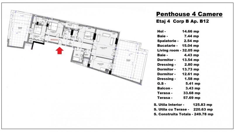 Penthouse 4 camere - B12/etaj 4, 125.83 mp, Calusei Residence