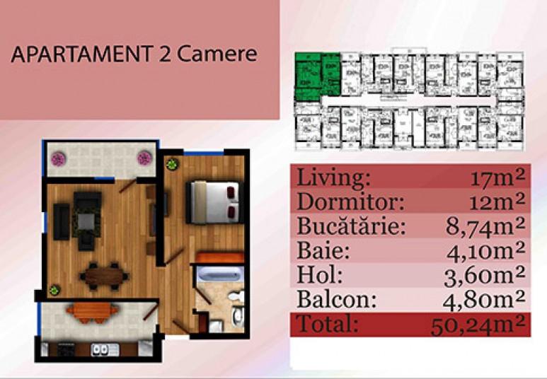 Apartamente 2 camere - tip b, 50.24 mp, Apartamente Vile Militari