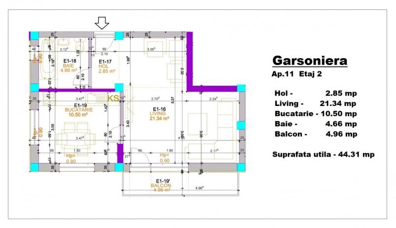 Garsoniera- ap 11/etaj 2, 44.31 mp, Otopeni Apartments