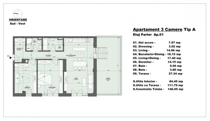 Apartament 3 camere - tip A/parter, 84.45 mp, Barajul Arges 22