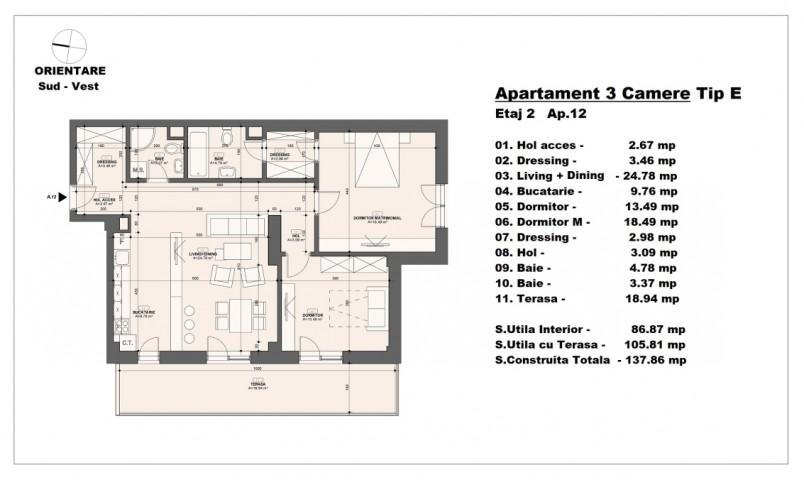 Apartament 3 camere - tip E/etaj 2, 86.87 mp, Barajul Arges 2