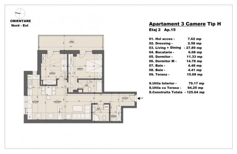 Apartament 3 camere - tip H/etaj 2, 79.17 mp, Barajul Arges 22