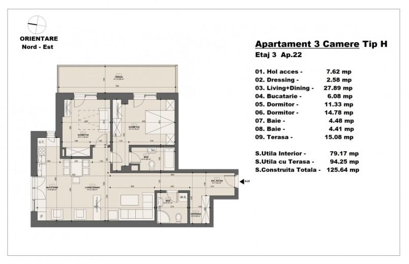 Apartament 3 camere - tip H/etaj 3, 79.17 mp, Barajul Arges 22