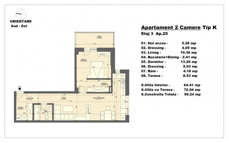 Apartament 2 camere - tip K/etaj 3, 64.41 mp, Barajul Arges 22