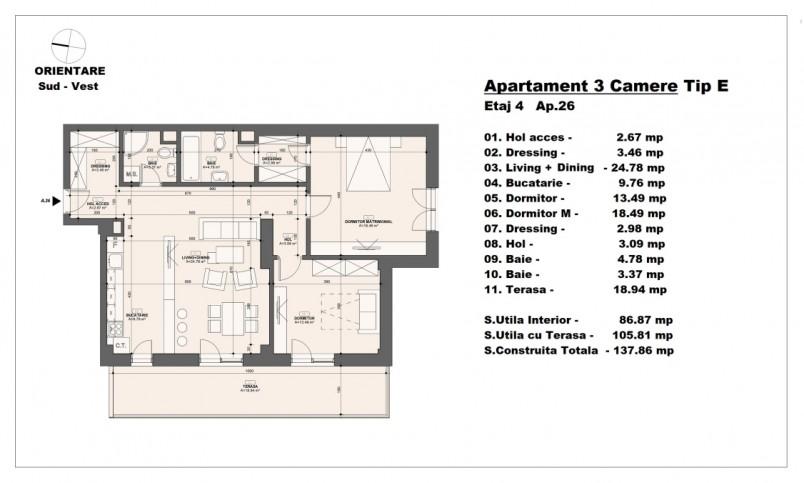 Apartament 3 camere - tip E/etaj 4, 86.87 mp, Barajul Arges 22