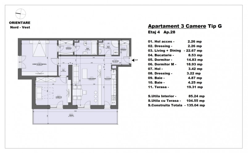 Apartament 3 camere - tip G/etaj 4, 85.24 mp, Barajul Arges 22