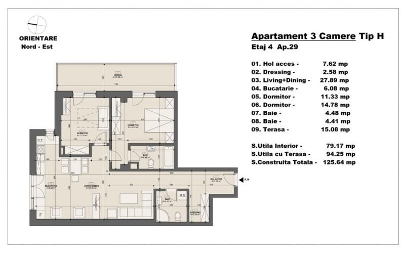 Apartament 3 camere - tip H/etaj 4, 79.17 mp, Barajul Arges 22