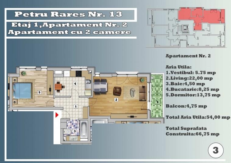 Apartament 2 camere - nr.2/etaj 2, 54 mp, Petru Rares 13