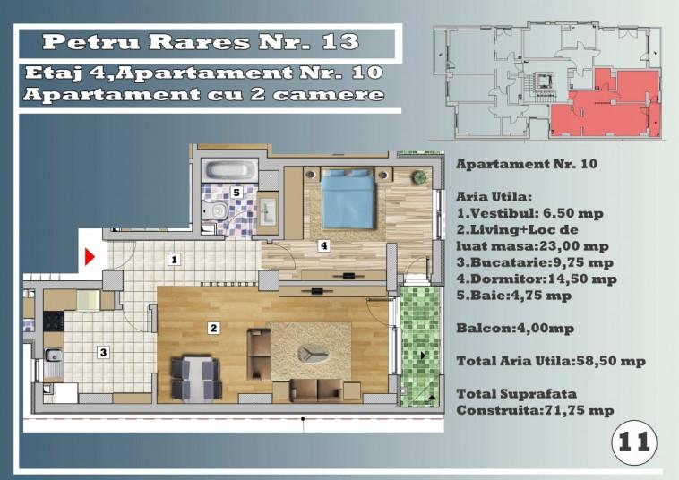 Apartament 2 camere - nr.10/etaj 4, 58.50 mp, Petru Rares 13