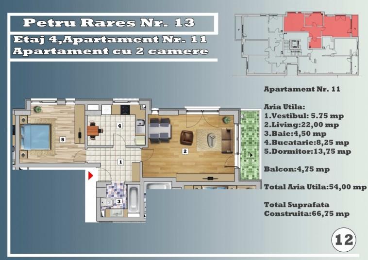 Apartament 2 camere - nr. 11/etaj 4, 54 mp, Petru Rares 13