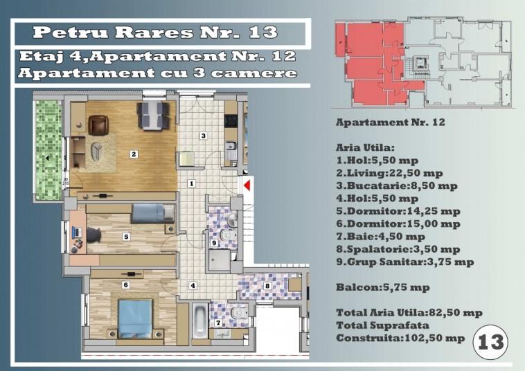 Apartament 3 camere - nr. 12/etaj 4, 82.50 mp, Petru Rares 13