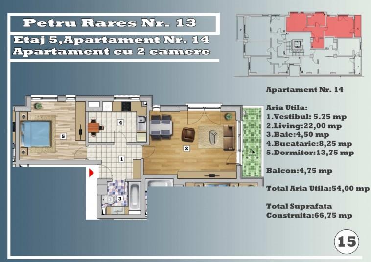 Apartament 2 camere - nr. 14/etaj 5, 54 mp, Petru Rares 13