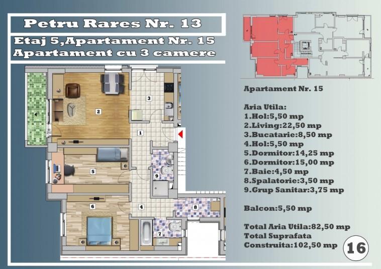 Apartament 3 camere - nr.15/etaj 5, 82.50 mp, Petru Rares 13
