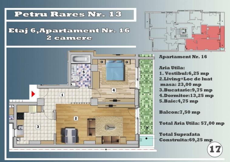 Apartament 2 camere - nr.16/etaj 6, 57 mp, Petru Rares 13