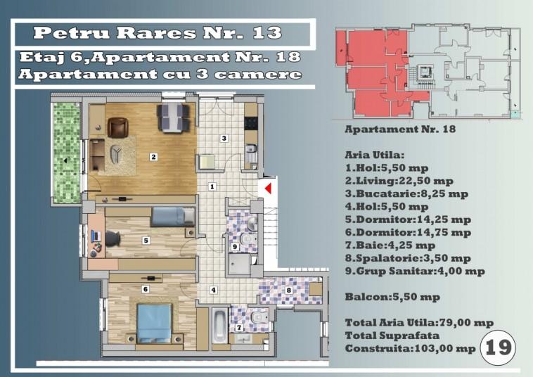 Apartament 3 camere - nr. 18/etaj 6, 79 mp, Petru Rares 13
