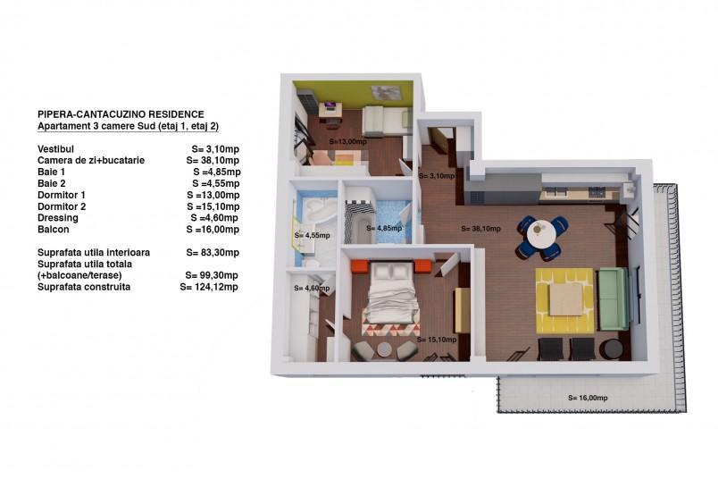 Apartament 3 camere - ap 5/etaj 1, 83.30 mp, Cantacuzino Residence