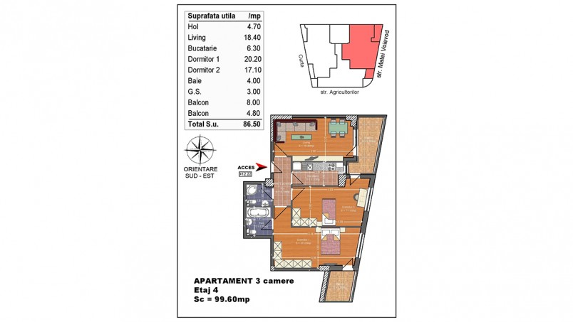 Apartament 3 camere - ap 7/etaj 4, 86.50 mp, Matei Voievod Residence 2