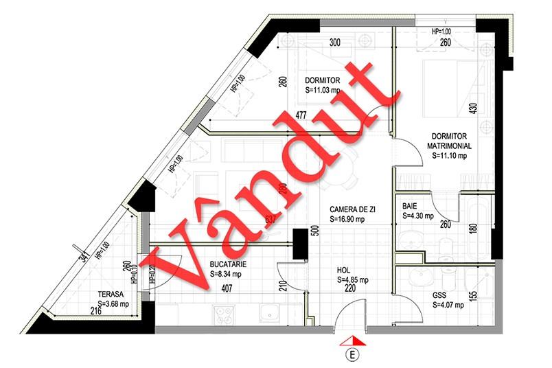 Apartamente 3 camere, 61 mp, Model E, Timisoara 58 Apartments