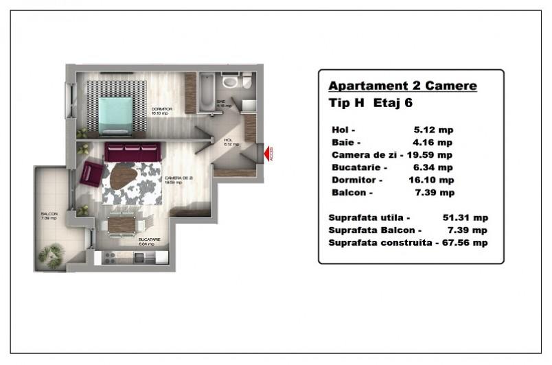 Apartament 2 camere, Tip H, Central Apartments Tineretului