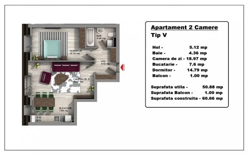 Apartament 2 camere, Tip V, 50.88 mp utili Central Apartments Tineretului