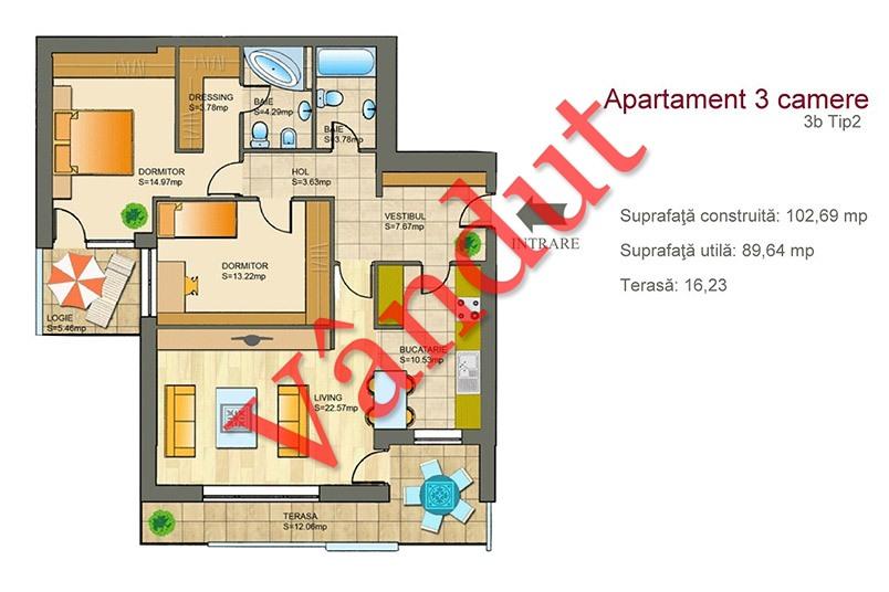 Apartamente 3 camere, 3B Tip 2, Metropolis Residence