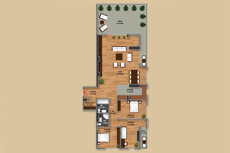 Apartamente 4 camere, 180 mp, Dristor Residence