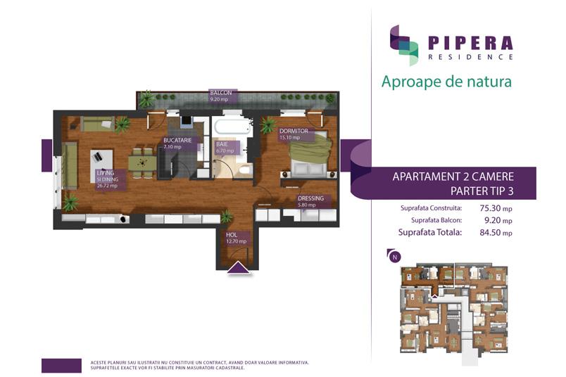 Apartamente 2 camere, 75 mp, Tip P-3, Pipera Residence