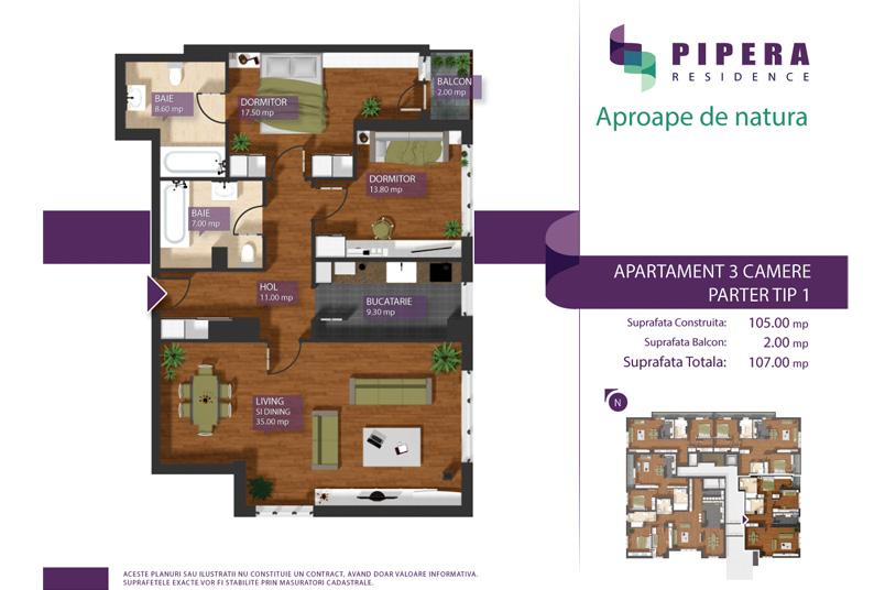 Apartamente 3 camere, 105 mp, Tip P-1, Pipera Residence