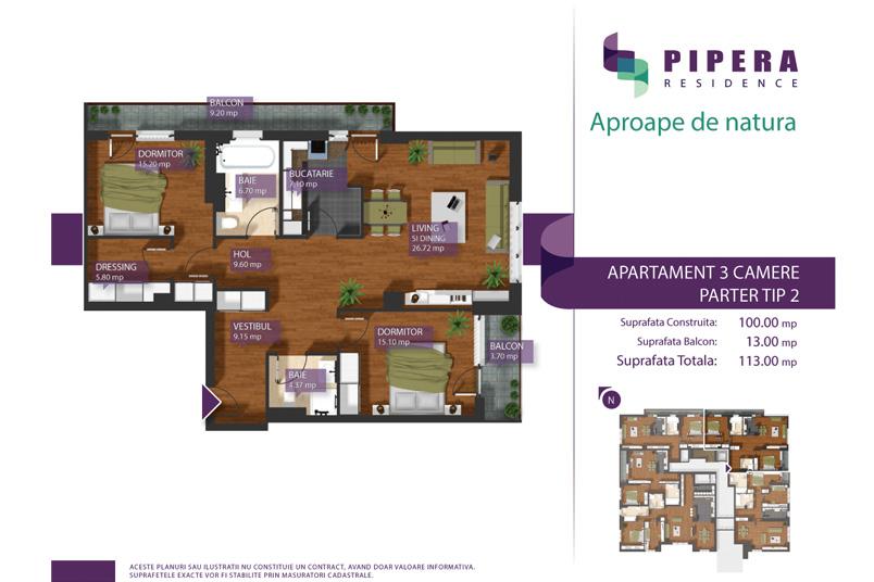 Apartamente 3 camere, 100 mp, Tip P-2, Pipera Residence