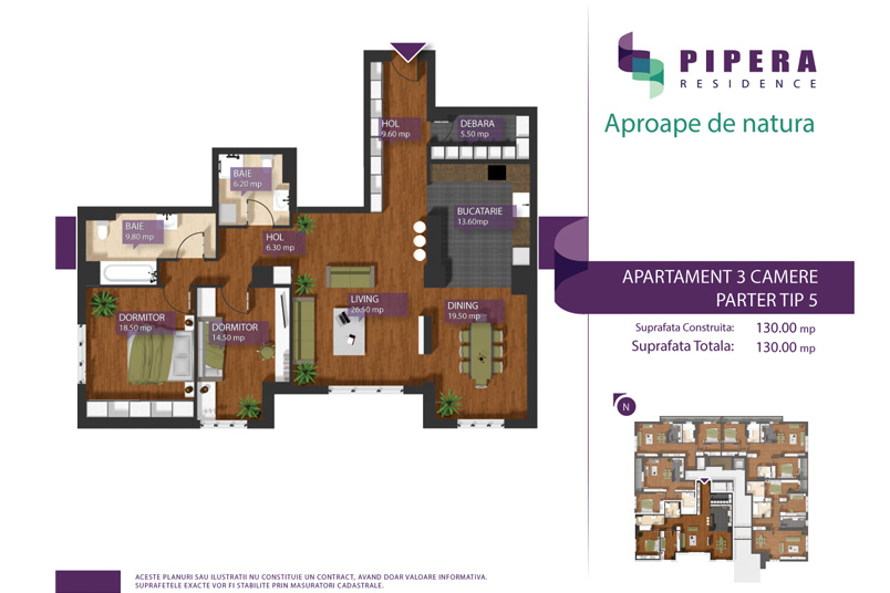 Apartamente 3 camere, 130 mp, Tip P-5, Pipera Residence