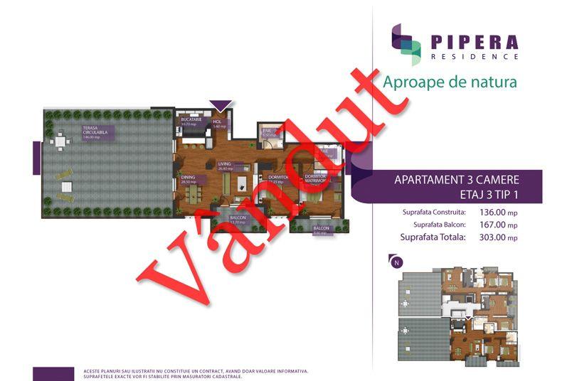 Apartamente 3 camere, 136 mp, Tip 3-1, Pipera Residence