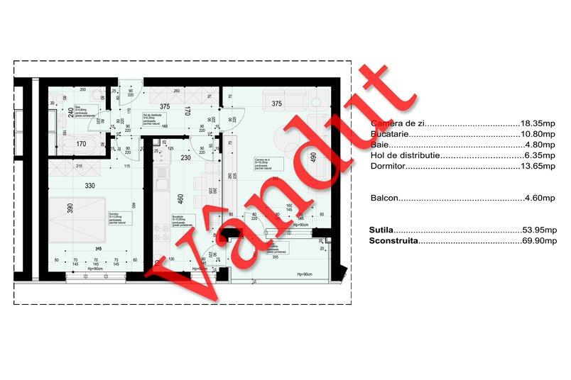 Apartamente 2 camere, 58 mp, 19th Residence