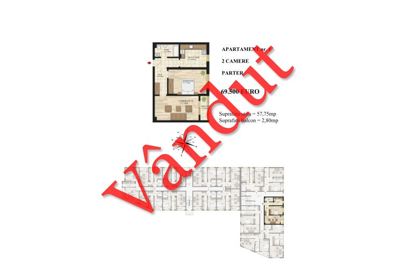 Apartamente 2 camere, 58 mp, Tip 1, Mihai Bravu Residence III