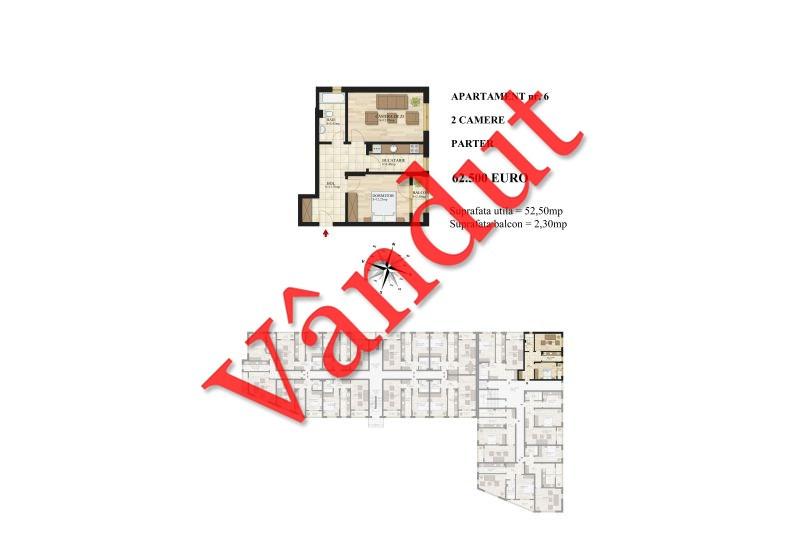 Apartamente 2 camere, 53 mp, Tip 1, Mihai Bravu Residence III