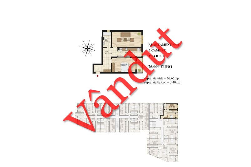 Apartamente 2 camere, 63 mp, Tip 1, Mihai Bravu Residence III