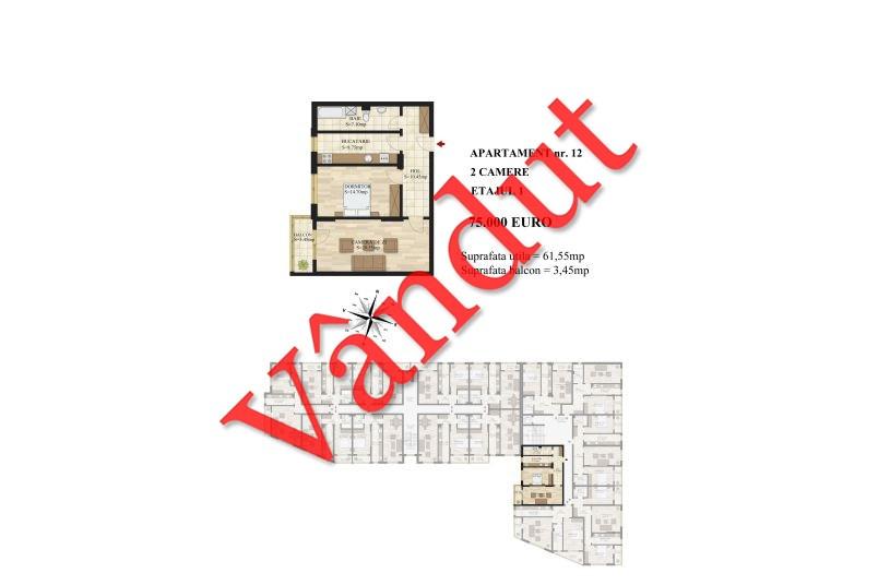 Apartamente 2 camere, 62 mp, Tip 1, Mihai Bravu Residence III