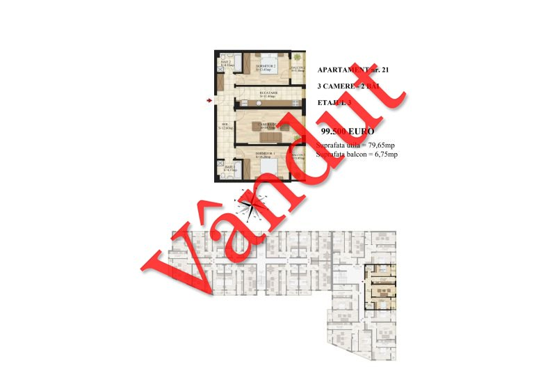 Apartamente 3 camere, 80 mp, Tip 1, etaj 3, Mihai Bravu Residence III