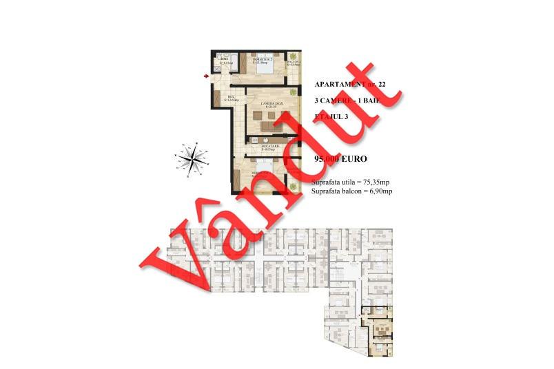 Apartamente 3 camere, 75 mp, Tip 1, etaj 3, Mihai Bravu Residence III
