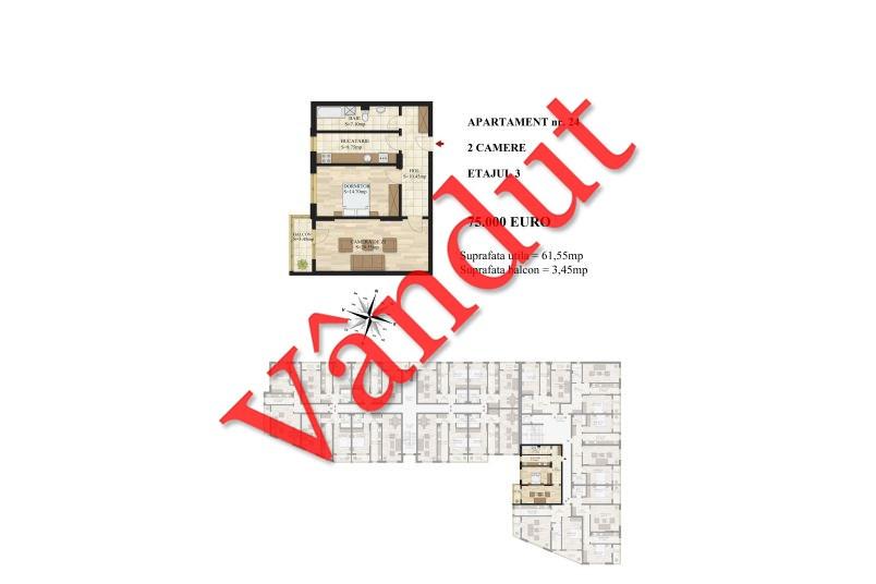 Apartamente 2 camere, 62 mp, Tip 1, etaj 3, Mihai Bravu Residence III