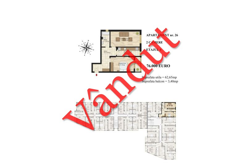 Apartamente 2 camere, 63 mp, Tip 1, etaj 4, Mihai Bravu Residence III