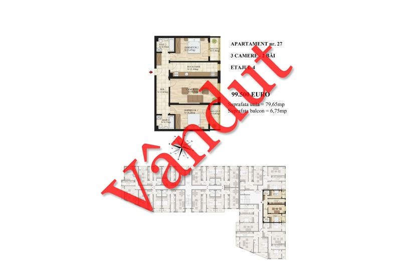 Apartamente 3 camere, 80 mp, Tip 1, etaj 4, Mihai Bravu Residence III
