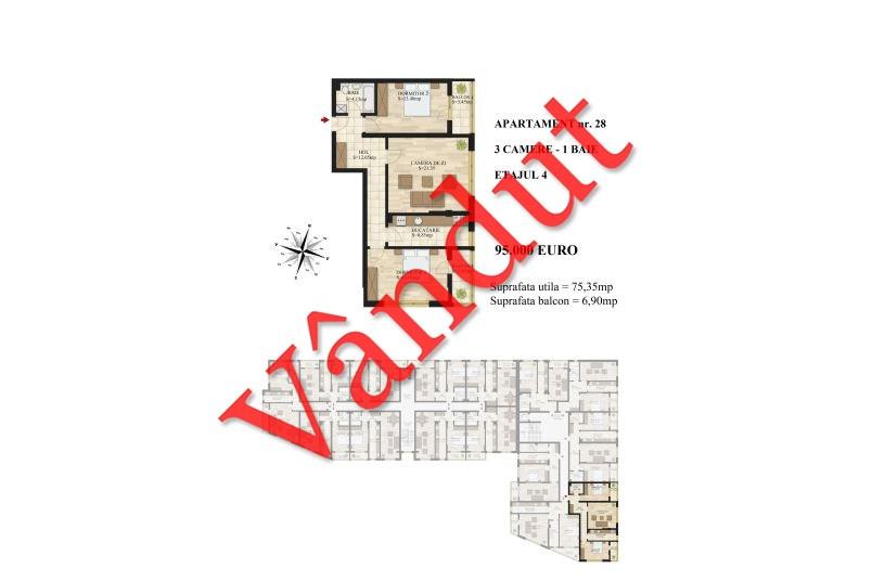 Apartamente 3 camere, 75 mp, Tip 1, etaj 4, Mihai Bravu Residence III