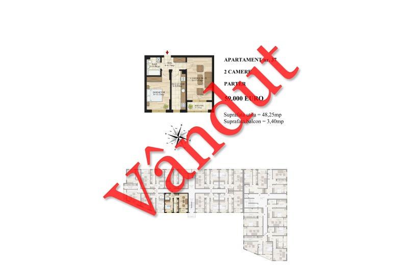 Apartamente 2 camere, 48 mp, Tip 1, Mihai Bravu Residence III